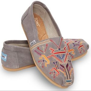 Toms gray suede embroidered Aztec slip on loafers